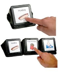 Talking Icon Assistive Technology Communicator- they are small enough to fit on a desk to use commonly needed words, phrases, or requests.