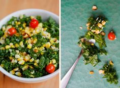 Grilled Corn and Kale Salad via A Thought For Food - www.athoughtforfood.net