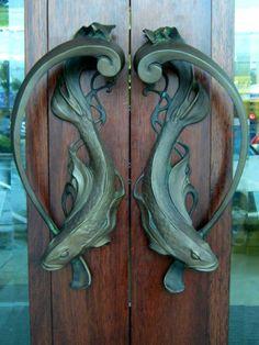 Green - door - fish handles   - Art nouveau