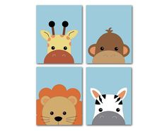 Peek-a-boo Nursery Art – Baby Prints -Lion Monkey Giraffe Zebra Blue Background- Set of 3 or peekaboo jungle animals - Babysachen Baby Canvas, Kids Canvas, Mini Canvas Art, Baby Prints, Nursery Prints, Nursery Art, Monkey Nursery, Lion Painting, Easy Canvas Painting