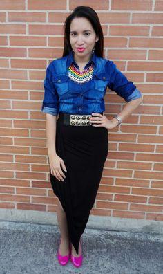Denim Shirt & black Skirt