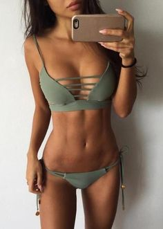 Only $24.99 for SS 2017 Fashion Show Push Up Vintage Lace Up Army Green Bikini Set