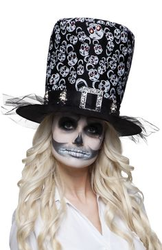 Accessories Adult Halloween Skull Top Hat Tall Fancy Dress Costume Accessory Day Of The Dead Adult Halloween, Halloween Skull, Halloween Face Makeup, Halloween Horror, Magic Hat, Headgear, Costume Accessories, Fancy Dress, Cowboy Hats