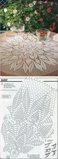 54 Trendy Ideas for crochet lace tablecloth ideas table runners Free Crochet Doily Patterns, Crochet Doily Diagram, Crochet Chart, Crochet Motif, Crochet Designs, Crochet Round, Crochet Coaster, Knitting Patterns, Filet Crochet