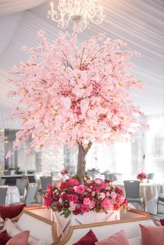 Cherry blossom trees and vibrant hues of pink flowers made a statement in the reception tent Cherry Blossom Bouquet, Cherry Blossom Centerpiece, Cherry Blossom Decor, Cherry Blossom Party, Blossom Trees, Pink Flower Centerpieces, Pink Wedding Theme, Wedding Flowers, Blossom Tree Wedding