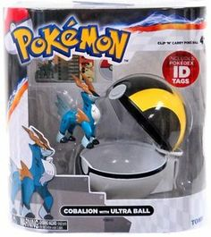 """TOMY Pokemon Clip 'N"""" Carry Pokeball ~ Cobalion Figure & Ultra Ball Tomy"""