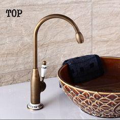 Single handle vintage antique porcelain sink kitchen faucet Bronze kitchen mixer Sink faucet tap porcelain faucet sink water tap