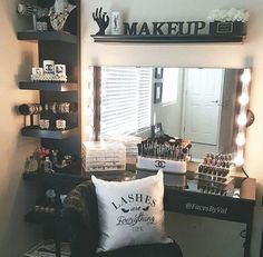 We offer spacious bedrooms and closets, perfect for setting up a makeup studio like this!