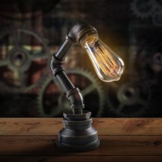 インテリア 雑貨 おしゃれ プレゼント 工業系水道管 スチームパンク テーブルランプ レトロ 卓上ライト 調光可能 E27_画像1