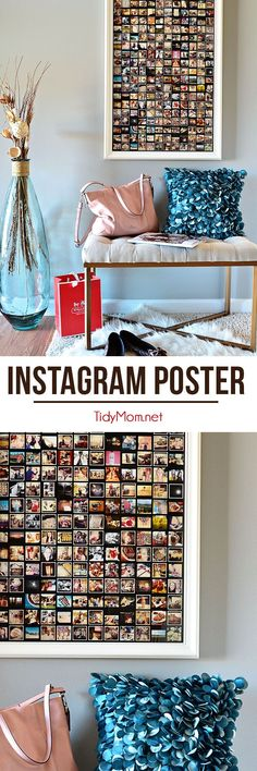 Entryway with framed Instagram poster. Details on how to make your own Instagram poster at TidyMom.net