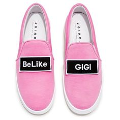 Joshua Sanders - \'Be Like Gigi\' Applique Slip On Sneakers (16.830 RUB) ❤ liked on Polyvore featuring shoes, sneakers, pull on shoes, bright colored shoes, bright colored sneakers, slip-on sneakers and elastic shoes