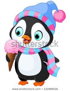 Cute penguin with hat and scarf eats an ice cream. Baby Cartoon, Cute Cartoon, Cartoon Art, Christmas Clipart, Christmas Art, Cartoon Mignon, Baby Animals, Cute Animals, Penguin Art