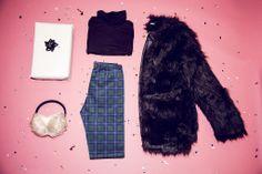 Outfit Inspiration..x Maaya Faux Fur Coat £59.99, Saya Polo Neck Jersey Top £9.99, Josele Scuba Tartan Trousers £14.99 #Missguided #Fashion #Style #Trends #Outfit #Inspo
