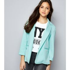 New Look Teens Mint Green Blazer (1.205 RUB) ❤ liked on Polyvore featuring outerwear, jackets, blazers, mint green, blue blazers, blue blazer jacket, mint blazer, blue jackets and workwear jacket