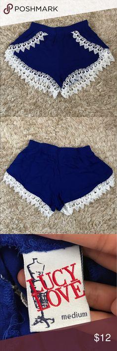 Boho Shorts Royal blue elastic waistband shorts. Crochet scallop design. Size medium but fits like a small. 100% rayon Lucy Love Shorts