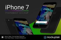 Iphone 7 Mockup Flying Black Graphics **Mockup Iphone 7 Mock-up Ready for Photoshop - Black Flying Front and Back Version**Created for p by mockuptain Black Iphone 7, Mobile Mockup, Mockup Photoshop, Billboard Signs, Book Stationery, Mockup Templates, Best Iphone, Mobile Design, As You Like