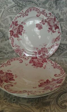 Vintage French Faience Red Transferware Plate. by SandShackStyle