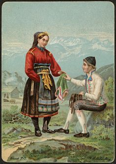 Bunadsmotiv : mann og kvinne i drakter fra Telemark av J. Russian Fashion, Antique Photos, World History, Vintage Love, Traditional Dresses, Norway, Folk Art, Scandinavian, Santa Cruz