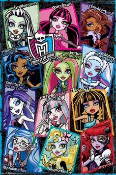 Trends International Monster High Grid Wall Poster inch x 34 inch, Multicolor Monster High Room, Monster High Birthday, Monster High Dolls, Monster Girl, Monster High Cosplay, Monster High House, Ever After High, Fete Anne, Monster High Pictures