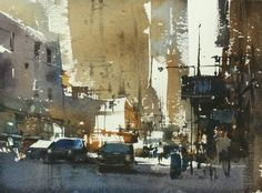 """Abstract in New York / 紐約抽象 ""....27 x 37 cm , Demo in Portland ,Chien Chung Wei"