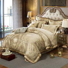 Wongsbedding Gold Jacquard Bedspread Bedding Set 100% Cotton Fabric Luxury Bedlinen King Size 4PCS Beddings #Affiliate