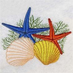 Starfish & Seashells embroidery design