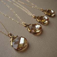 Bridal Necklaces Set of Six gold filled wedding gift by bridegirls, $150.00