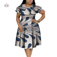 New Bazin Riche African Ruffles Collar Dresses for Women Dashiki Print Pearls Dresses Vestidos Women African Clothing African Dresses Plus Size, Short African Dresses, Latest African Fashion Dresses, African Print Fashion, Modern African Print Dresses, Ankara Fashion, Africa Fashion, African Prints, African Fabric