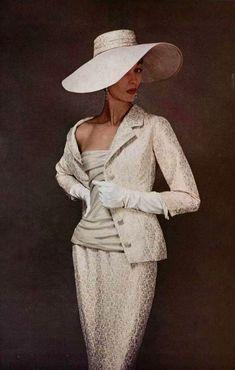 Dior haute couture for L'officiel de la mode, 1955.