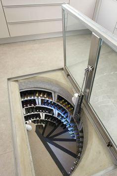 glass trap door open for wine cellar