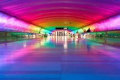 Detroit Metro Airport Tunnel, Michigan... when I went through during Christmas time it was so trippy!