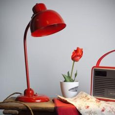Newark Desk Lamp in #Red made by Jim Lawrence.