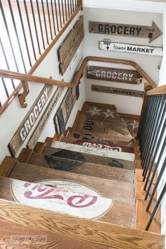crate stairway with old sign wall gallery / Funky Junk's 2015 Summer Home Junk Tour / FunkyJunkInteriors.net