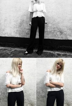 The elegant Kaidan off-shoulder over casual flaired Sabrine pants.   http://mbym.dk/collections/toppe/products/kaidan-top-sugar  http://mbym.dk/collections/bukser/products/sabrine-sagria-pant-black