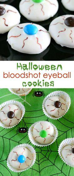 Bloodshot Eyeball Halloween Cookies- only 4 ingredients! They make fun treats for Halloween parties.