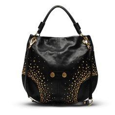 Alexander McQueen Black Studded Faithful Hobo Bag