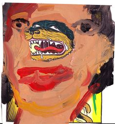 Margot Bergman Wilma, 2010 acrylic on found paper 5.5. x 5 in.