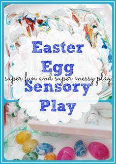 Easter Egg Water & Shaving Cream Messy Sensory Play