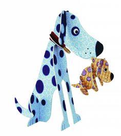 Santoro+3d+kaart+hond+met+puppy
