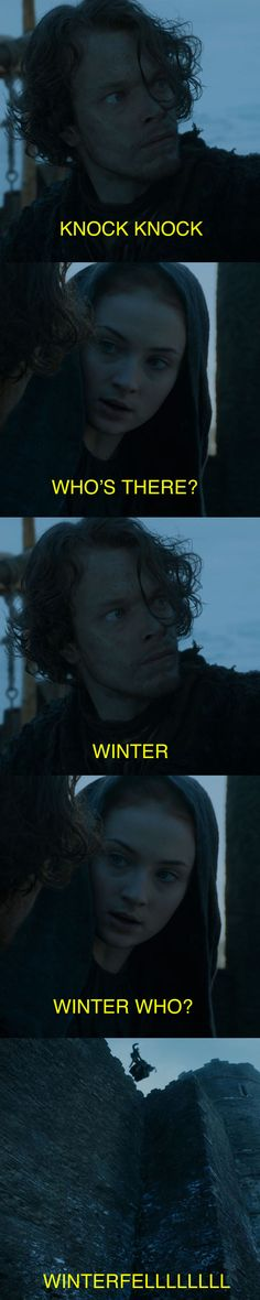 "When Theon decided to lighten the mood with a joke. | 31 Jokes Only People Who've Finished ""Game Of Thrones"" Season 5 Will Understand"