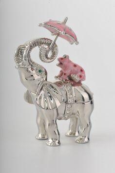 Elephant with Pink Frog / Umbrella Trinket Box. My 2 favorite animals! What?!