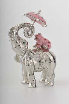 Elephant with Pink Frog / Umbrella Trinket Box. My 2 favorite animals! What?!