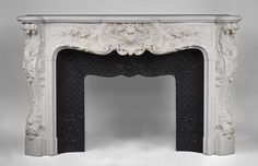 Exceptional antique Louis XV style fireplace, century, opulent and rare decor - Marble Marble Floor, Carrara Marble, Rococo Style, Architectural Antiques, Fireplace Mantels, Decoration, French Antiques, Cast Iron, Art Nouveau