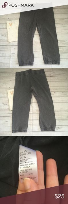 topshop womens 6 joggers faux denim gray cinched b gently used   the waistband is stiff   great for back to school  grunge and retro   waist = 15 inches  inseam = 22 inches Topshop Pants Track Pants & Joggers