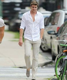 Make a white long sleeve shirt and beige chinos your outfit choice for a simple look that's also put together nicely. Go the extra mile and jazz up your look by wearing grey suede loafers. White Shirt Outfits, White Shirt Men, Casual Outfits, Men Shirt, White Shirts, Fall Outfits, Shirt For Man, White Pants, Casual Shoes