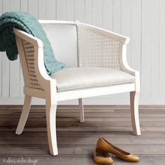Silver Fog Garden Cane Chair  white and grey by alexisandradesign, $325.00