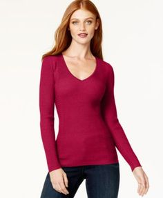 INC International Concepts Ribbed V-Neck Sweater rayon/acrylic/nylon real red, deep black (49.50) na