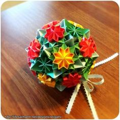 Warm-n-Bright Primula Origami Bouquet Ball