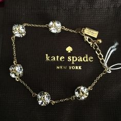 "Kate Spade Crystal Ball Bracelet NO BUNDLE ITEM Stunning Kate Spade Crystal Ball bracelet. Watch the rainbow from your arm while wearing this gold tone bracelet. It has the spade, KS and small ball charm on the end at the the lobster clasp. Measures 8"" and can adjust to fit 7"" . ♠️dust bag included. kate spade Jewelry Bracelets"