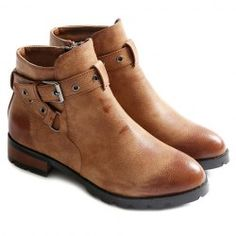 $30.39 Stylish Cross Straps and Zipper Design Women's Ankle Boots